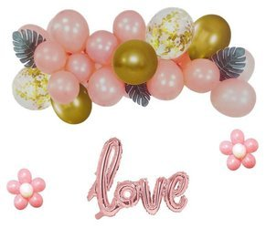 A set of balloons garland, pink lettering LOVE