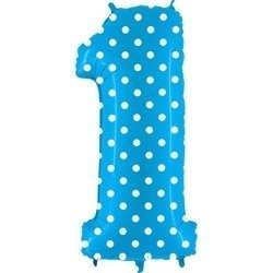 Foil balloon Number 1 in Dotted blue - 102 cm Grabo