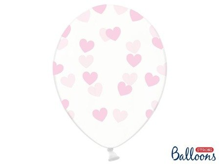 Balloons in Transparent Pink Hearts, 30cm, 6 pcs.
