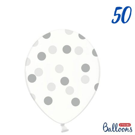 Balloons-transparent silver Dots Dots Crystal Clear 30cm (1 op. / 50 pieces).