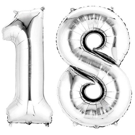 Foil balloons Numbers 18 Birthday Silver 100cm, set at eighteen