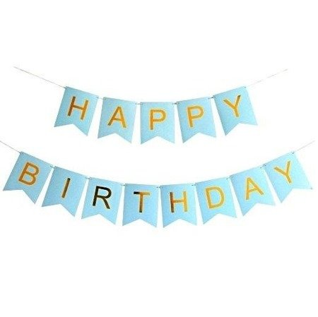 Garland Birthday - HAPPY BIRTHDAY banner, blue