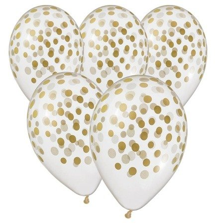 Gold Latex Balloons Confetti - 5 pcs. 33 cm