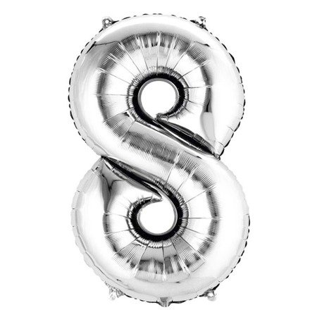 Number 8 Foil Balloon 42 inch, Silver